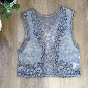 Crochet Cropped Grey Boho Vest 100% cotton